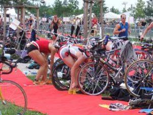 Triathlon laufen Wechselzone